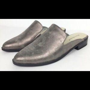 Pierre Dumas Metallic Gray Slip On Loafer Mule